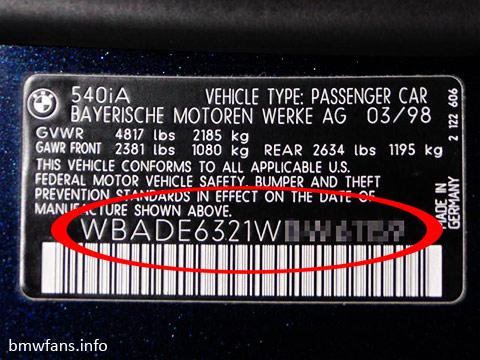 BMW VIN